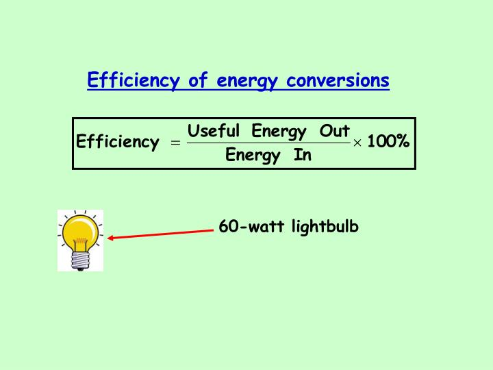Efficiency of energy conversions