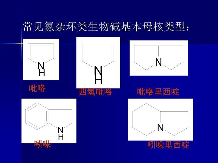 常见氮杂环类生物碱基本母核类型: