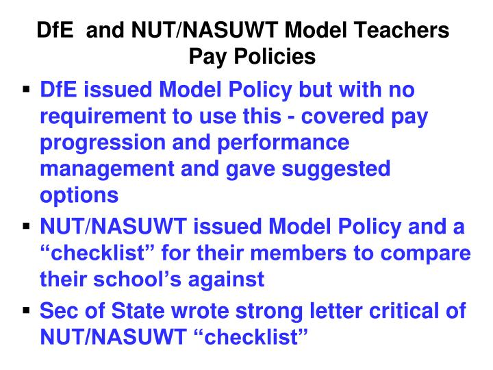 DfE  and NUT/NASUWT Model Teachers Pay Policies