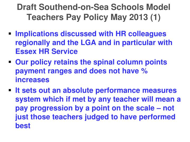 Draft Southend-on-Sea Schools Model Teachers Pay Policy May 2013 (1)