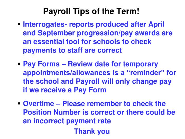 Payroll Tips of the Term!
