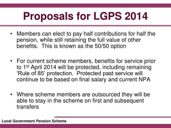 Proposals for lgps 20141