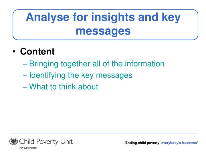 Analyse for insights and key messages