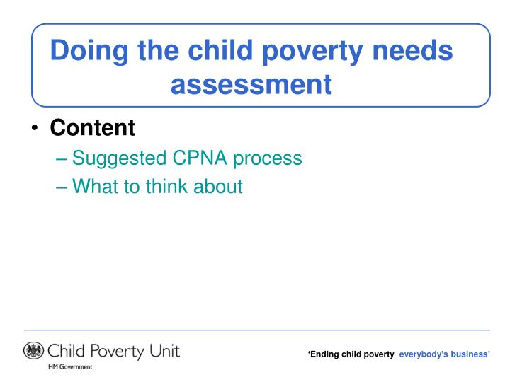 Doing the child poverty needs assessment