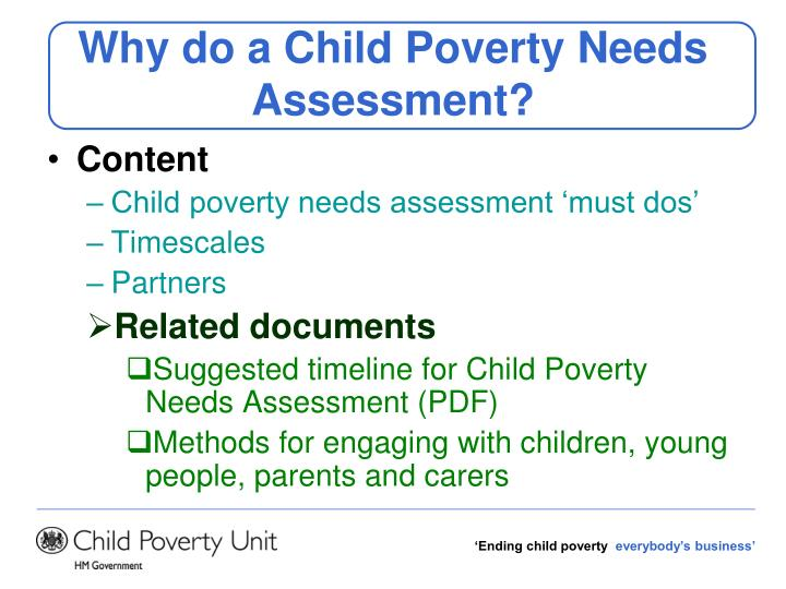 Why do a Child Poverty Needs Assessment?