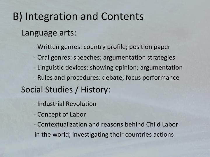 B) Integration and Contents