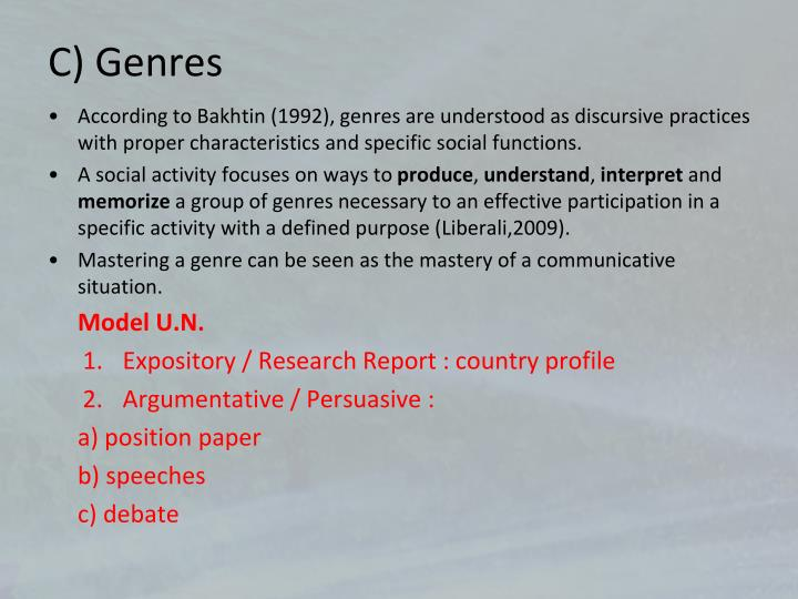 C) Genres