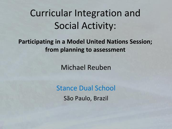 Curricular Integration and