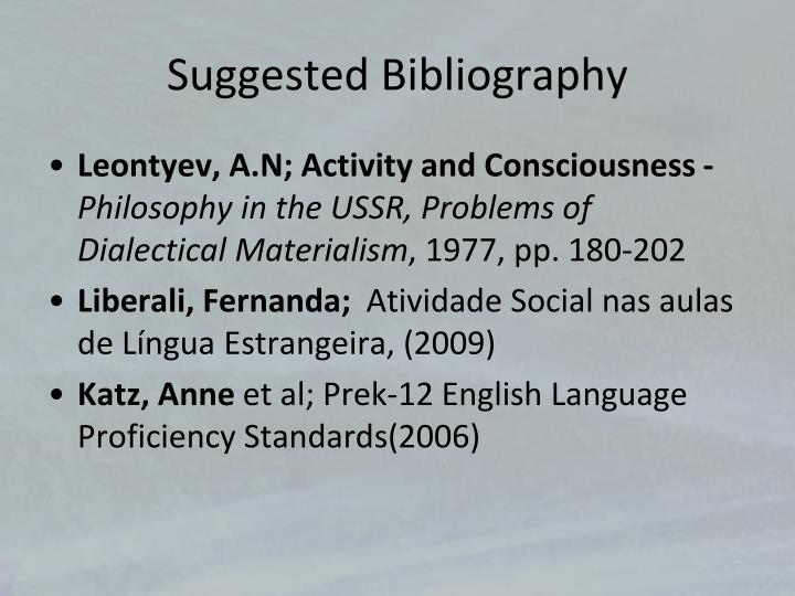 Suggested Bibliography