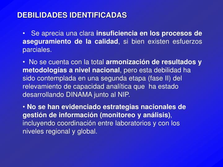 DEBILIDADES IDENTIFICADAS