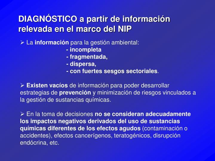 DIAGNÓSTICO a partir de información relevada en el marco del NIP