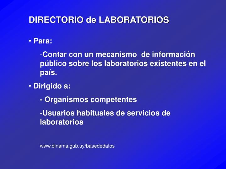 DIRECTORIO de LABORATORIOS