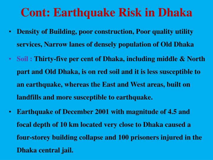 Cont: Earthquake Risk in Dhaka