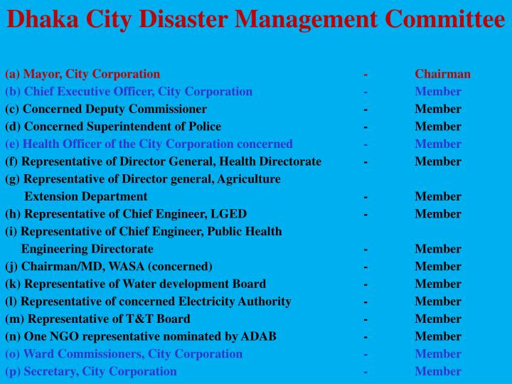 Dhaka City Disaster Management Committee