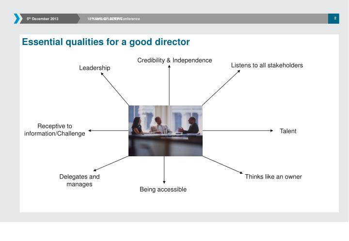 Essential qualities for a good director