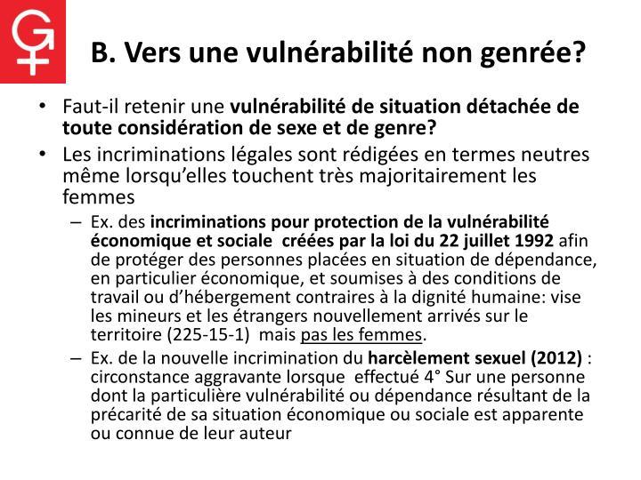 B. Vers une vulnérabilité non genrée?
