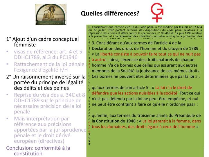 Quelles différences?