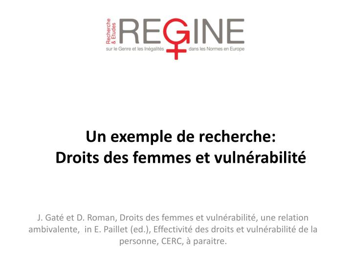 J. Gaté et D. Roman, Droits des femmes et vulnérabilité, une relation ambivalente,  in E. Paillet (