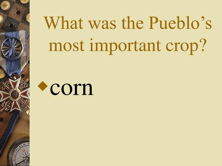 What was the Pueblo's most important crop?