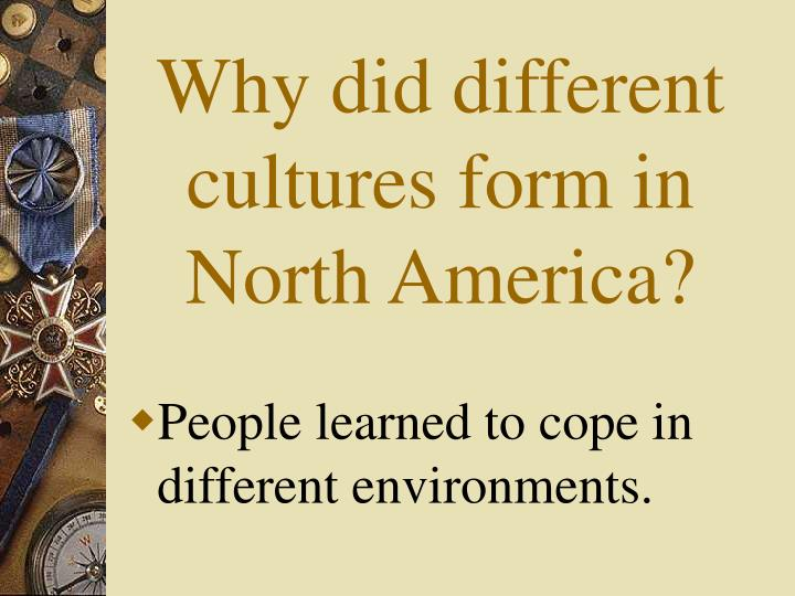 Why did different cultures form in North America?