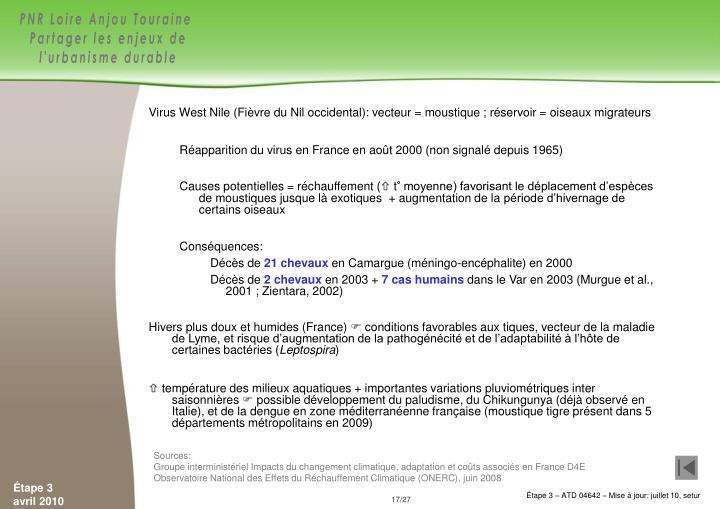 Virus West Nile(Fièvre du Nil occidental): vecteur = moustique; réservoir = oiseaux migrateurs