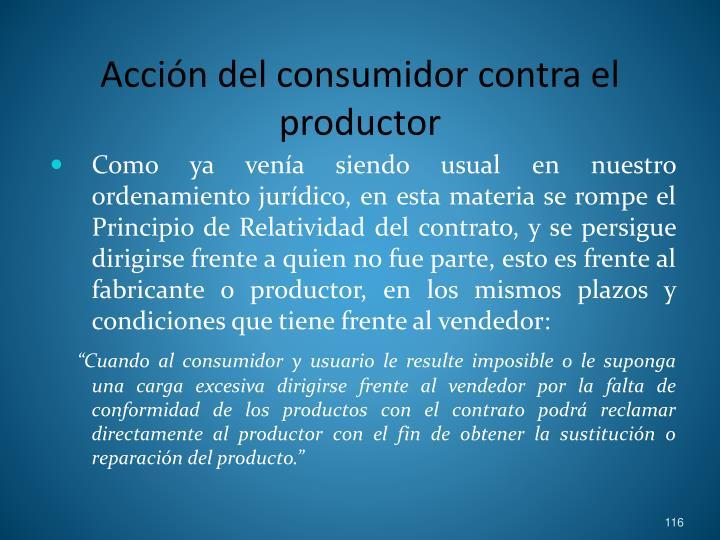 Acción del consumidor contra el productor