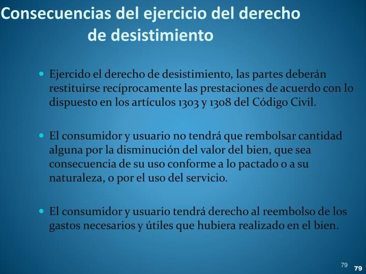 Consecuencias del ejercicio del derecho de desistimiento