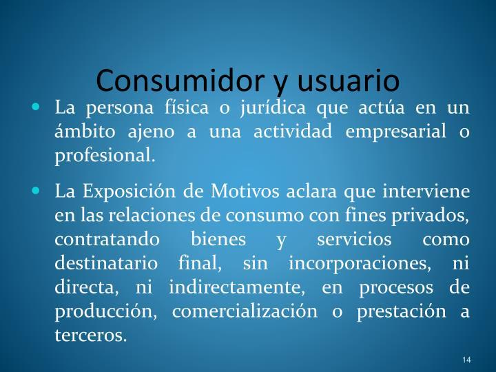 Consumidor y usuario