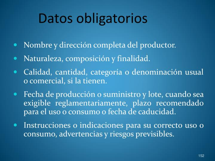 Datos obligatorios