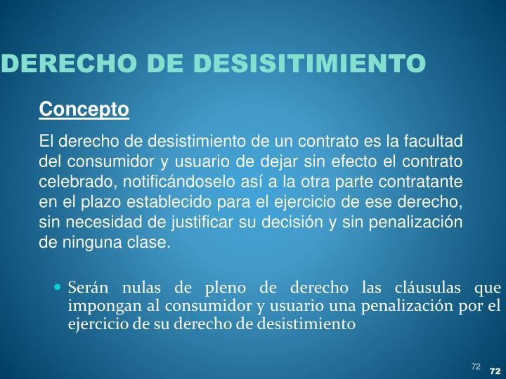 DERECHO DE DESISITIMIENTO