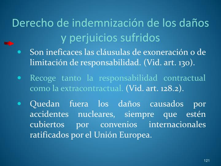 Derecho de indemnización de los daños y perjuicios sufridos