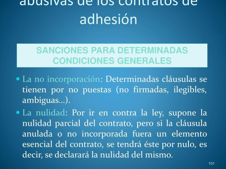 Prohibición de cláusulas abusivas de los contratos de adhesión