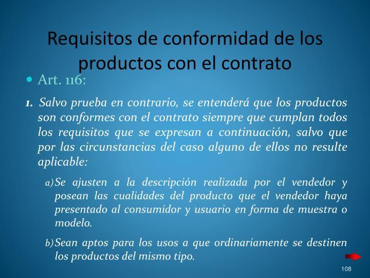 Requisitos de conformidad de los productos con el contrato