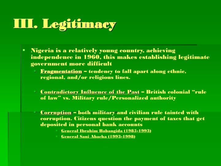 III. Legitimacy
