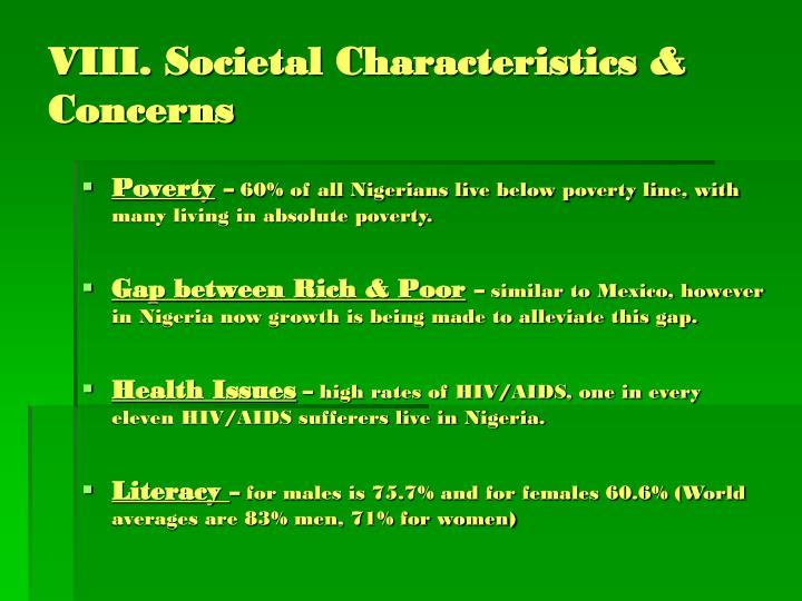VIII. Societal Characteristics & Concerns