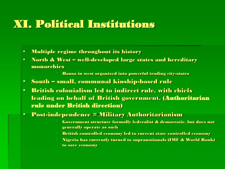 XI. Political Institutions