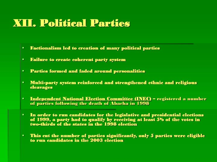 XII. Political Parties