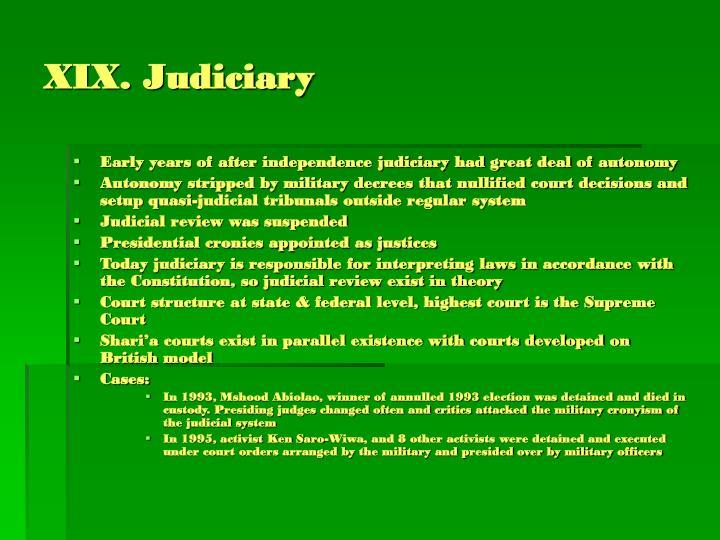 XIX. Judiciary