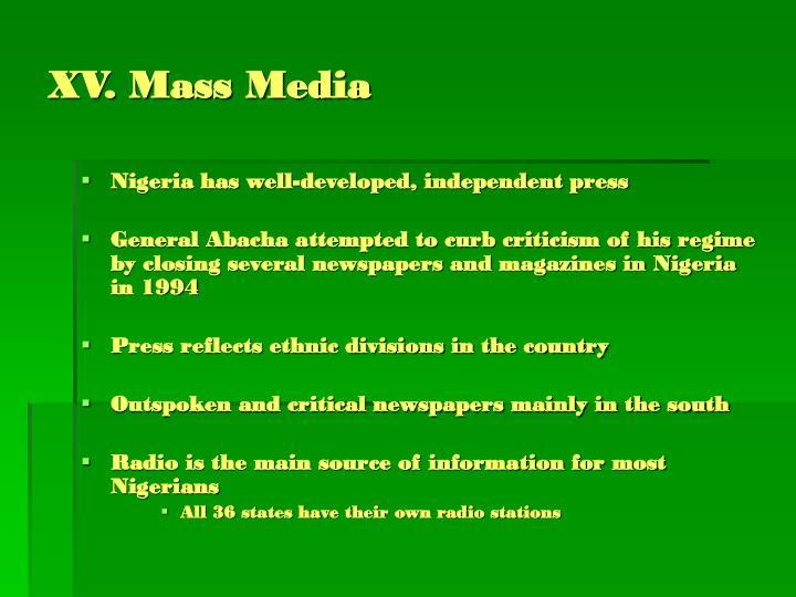XV. Mass Media