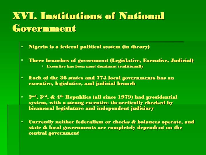 XVI. Institutions of National Government
