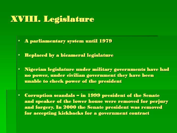 XVIII. Legislature