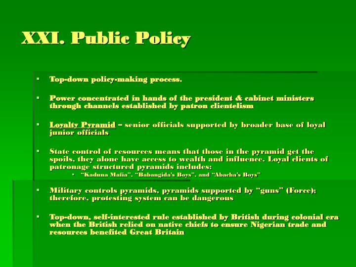 XXI. Public Policy