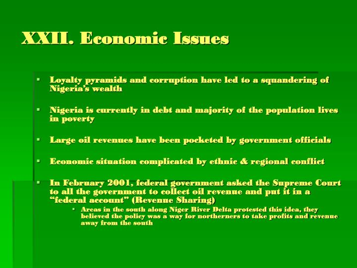 XXII. Economic Issues