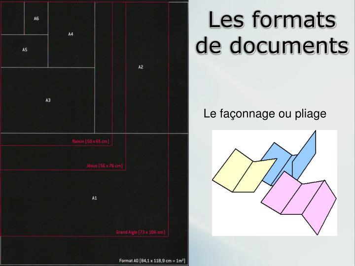 Les formats de documents
