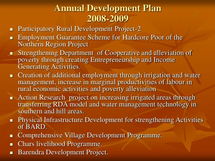 Annual Development Plan