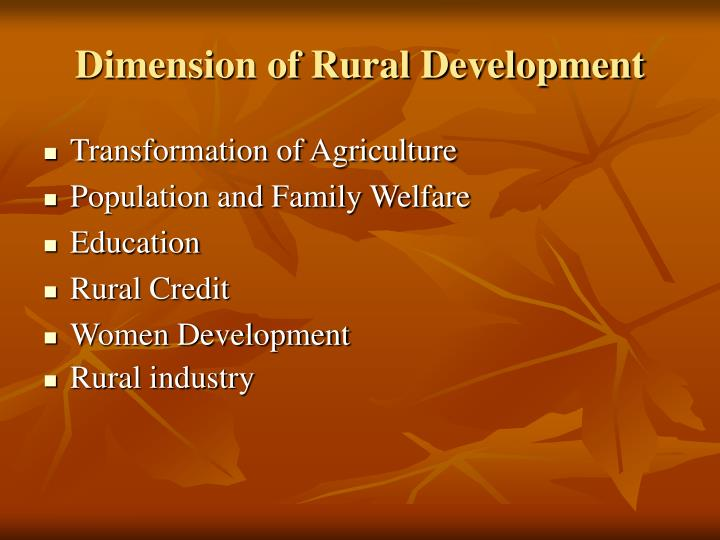 Dimension of Rural Development