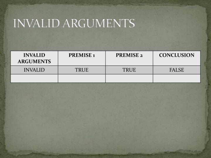 INVALID ARGUMENTS