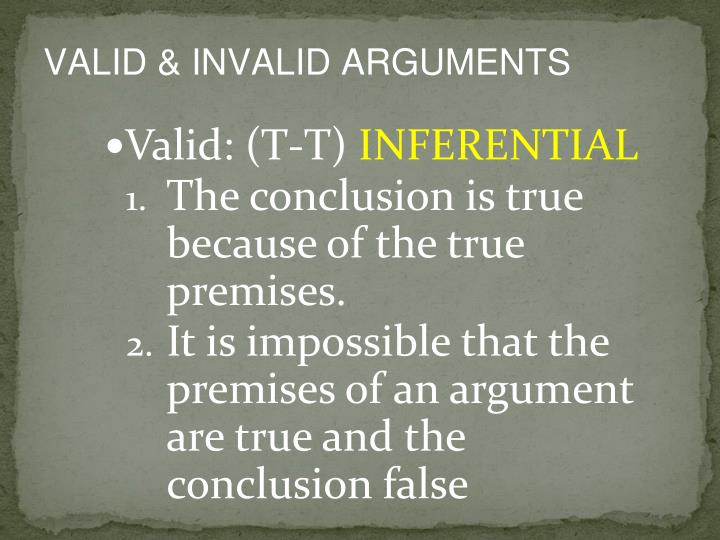 VALID & INVALID ARGUMENTS