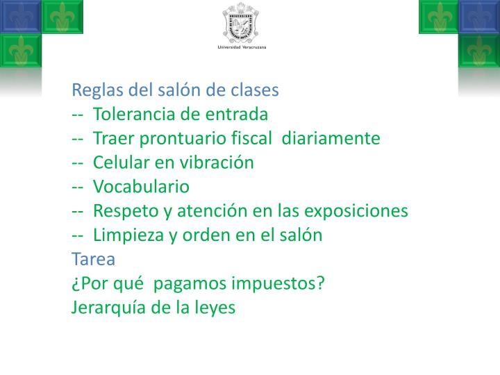 Reglas del salón de clases