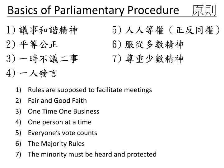 Basics of Parliamentary Procedure